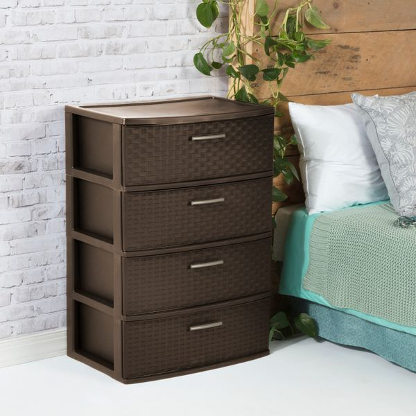 4 Drawer Wide Weave Tower Brown Size:15.88 x 21.88 x 31.75 Inches