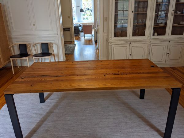 Room and Board Rand Dining Table - Reclaimed Chestnut Table Top with Steel Legs