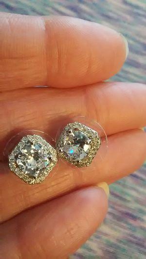 Diamond quality white sapphire stud earrings , 15K white gold over 925 Sterling. for Sale in Arlington, TX