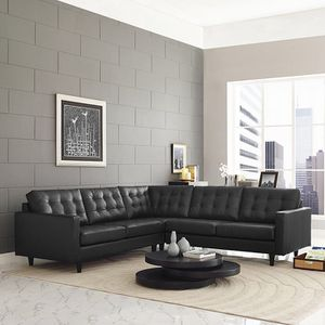 Sectional black new in box! Bonded leather very comfortable! for Sale in Toms River, NJ