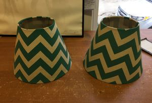 2 matching lamp shades Teal Chevron for Sale in Roseville, MI