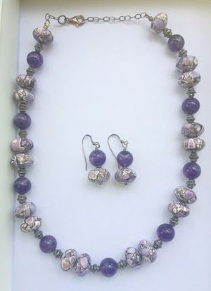 Gorgeous purple and white gemstone necklace set for Sale in Fairburn, GA