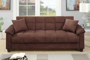 Chocolate microfiber adjustable futon sofa bed couch for Sale in Downey, CA