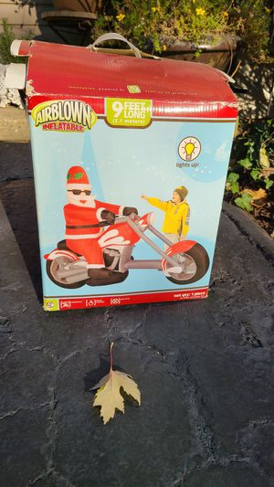 Christmas Santa Harley Motorcycle Chopper Blow Up Yard Decoration Inflatable for Sale in CARPENTERSVLE, IL
