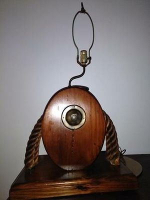 Antique solid wood pulley lamp for Sale in Philadelphia, PA