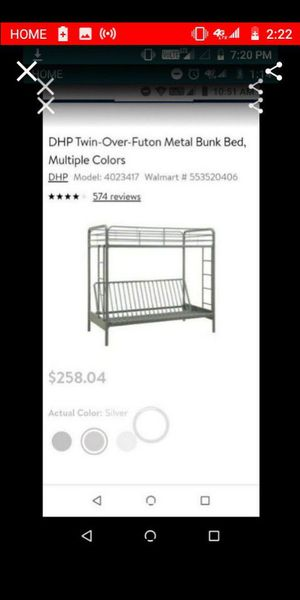 Futon twin bunk bed for Sale in Apple Valley, CA