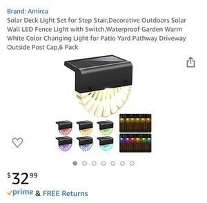 Solar Deck Light Set for Step Stair,Decorative Outdoors Solar Wall LED Fence Light with Switch,Waterproof Garden Warm White Color Changing Light for for Sale in Lilburn, GA