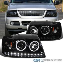 02-05 Ford Explorer Black LED Dual Halo Projector Headlights Head Lamps Pair for Sale in Whittier,  CA