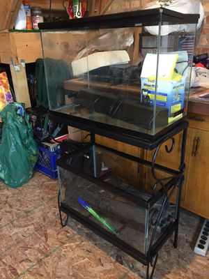 2 fish tanks, stand, light, background and filter! for Sale in Chicago, IL