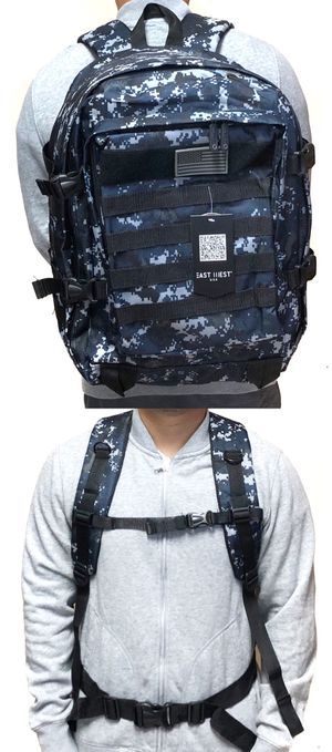 Brand NEW! Large Blue Camouflage tactical military style Backpack molle system gym camping hiking work travel bag for Sale in Carson, CA