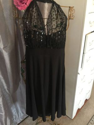 Vintage Hollywood style black stretch flared EVE party dress elegant sheer sequin fabric halter top overlay slip on size 8 misses for Sale in Brecksville, OH
