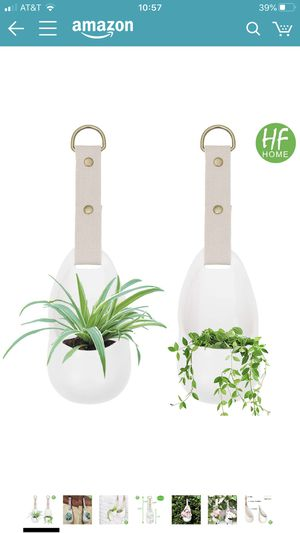 Set 2 Wall Hanging Planters with Strap, Modern Wall Decor Unglazed Ceramic Air Plant Holder Indoor Home Decor Plant Hanger - White for Sale in San Leandro, CA