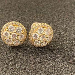 14k gold finish Icedout round Earrings for Sale in Los Angeles, CA