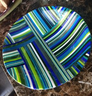 Handmade custom large fused glass bowl for Sale in US