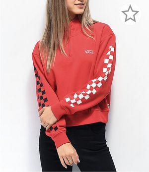 Vans Red Quarter-Zip Checkerboard Sleeve Sweatshirt for Sale in Miami, FL