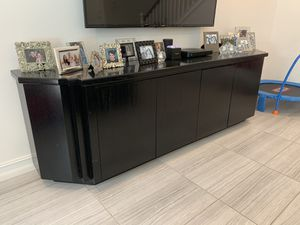 Black Wood Console Unit for Sale in Delray Beach, FL