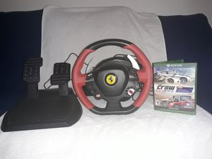Xbox one Ferrari 458 spider racing wheel with The Crew Ultimate Edition for Sale in Los Angeles, CA