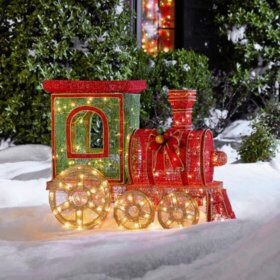 Glittering Thread Steam Train outdoor holiday decoration 33in tall for Sale in Madera, CA