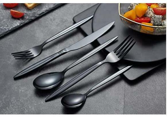 20 Piece Black Flatware Set, Stainless Steel Silverware Set, Titanium Black Cutlery Set, Service Set for 4 (Shiny Black)