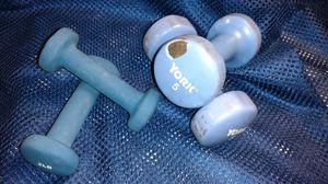 Set of four dumbbells includes 5 lb York and 2 pound neoprene covered for Sale in Columbus, OH