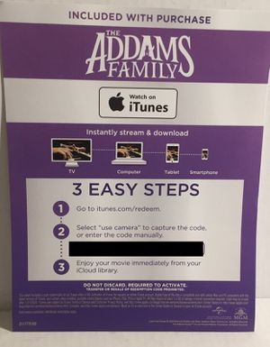 2019 The Addams Family Animated Digital Movie Redemption Code for Sale in Los Angeles, CA
