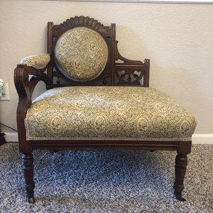 Vintage/Victorian one armed wood antique parlor tapestry chair for Sale in Fresno, CA