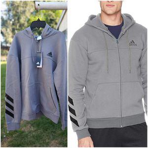 Men's Adidas hoodie zip sweater large gray for Sale in La Mirada, CA