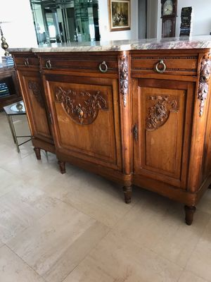 Antique wood cabinet and stand with marbletop for Sale in Miami, FL