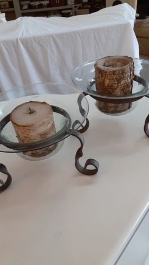 2 antique wrought iron stands holding glass bases for candles for Sale in Deltona, FL