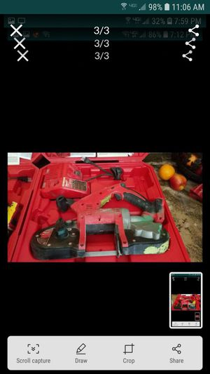 Milwaukee m18 bandsaw charger case no batteries 1 remaining $180 for Sale in Tracy, CA