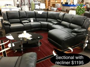 Brand new big leather sectional with recliner and cup holder for Sale in Fresno, CA