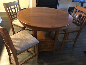 Expandable Wood Table with 3 Chairs for Sale in Denver, CO