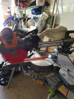 Ridged Miter Saw. 12in, dual bevel, sliding saw, Diablo blade, Ryobi collapsible stand for Sale in Puyallup, WA