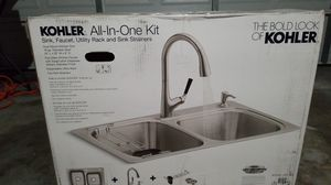 Kohler all in one kit sink, faucet, utility rack and sink strainer for Sale in Fresno, CA