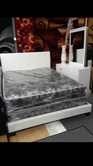 Bedframe mirror and dresser and mattress and box spring for Sale in Chicago, IL