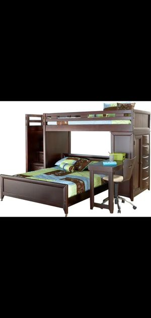 Newer Twin Solid Wood Step Loft Bunk Bed w/ Dresser Chest, Side Desk and Two Single Mattresses for Sale in Renton, WA
