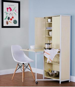 [NEW] Multi-Use Craft Armoire or Home Office Storage Cabinet with Fold-Out Table, White / Birch for Sale in Washington, DC