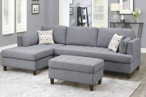 MID CENTURY MODERN GRAY POLYFIBER LINEN SECTIONAL SOFA REVERSIBLE CHAISE OTTOMAN / SILLON NEGRO SECCIONAL for Sale in Downey, CA