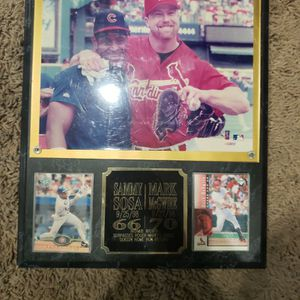 Sammy Sosa And Mark Mcgwire Picture With Baseball Card, Sosa 66 Hime Runs, Mcgwire 70 Home Runs for Sale in West Covina, CA