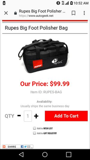 Rupes lhr mark3 polisher bag for Sale in Huntington Beach, CA