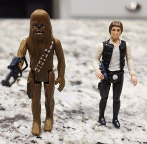 1977 Vintage Han Solo & Chewbacca with Weapons Action Figures for Sale in Southlake, TX