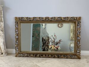 "Antique 48""x32"" gold color, hand carved. This mirror is absolutely gorgeous and Characteristic for Sale in Laguna Niguel, CA"