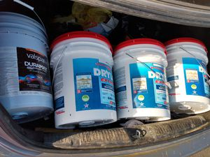 White drylok extreme and white semi-gloss exterior paint all 5 gallon buckets for Sale in Cleveland, OH
