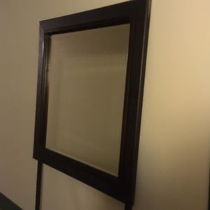 Dark chocolate brown faux leather and wood mirror for Sale in Falls Church, VA