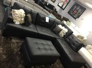 Brand New Espresso Faux Leather Sectional Sofa Couch + Ottoman for Sale in Springfield, VA