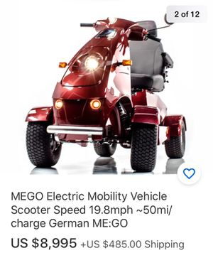 Fast scooter 20 miles and 50miles from one single charge germaney makes you can give offers or trade with your staff cost 934$ with tax free canopy for Sale in Tampa, FL
