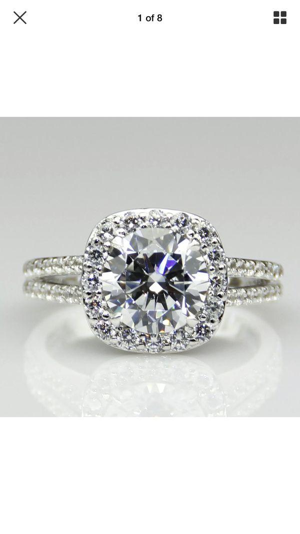 2CT moissanite engagement ring 14 K White Gold band