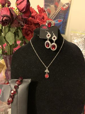 New 4pc set color silver with red stones for Sale in Santa Ana, CA