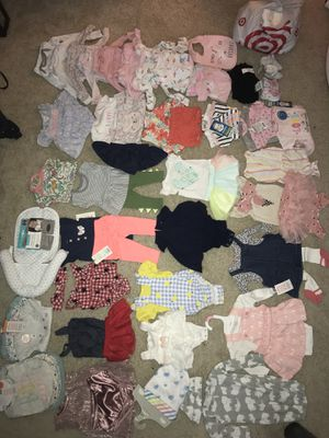 Brand new/gently used newborn outfit sets, shoes, bibs, diapers, etc. for Sale in Spring, TX