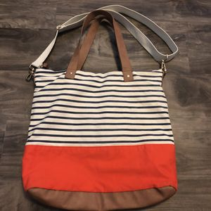 Striped navy cream and orange vegan leather canvas tote bag like new for Sale in Dallas, TX
